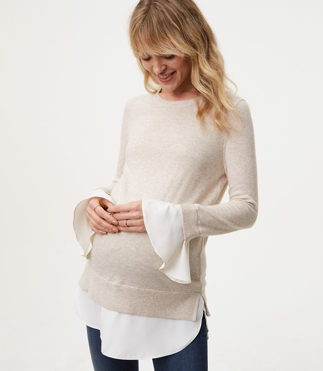 f4b20abb99cf72 Loft Maternity Ruffle Cuff Two-in-One Sweater   Maternity Clothes at ...