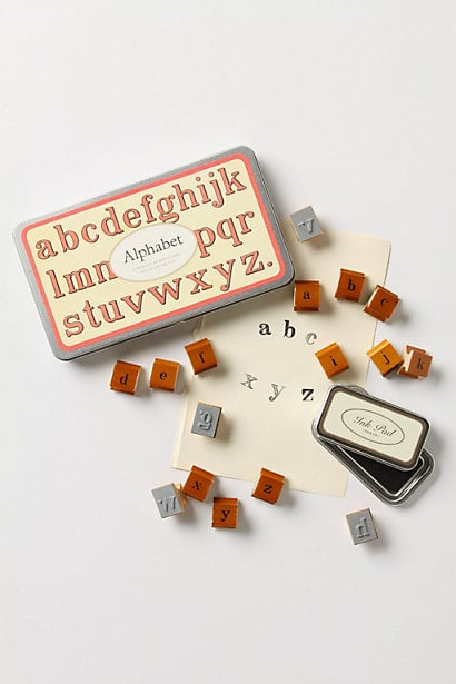 This Alphabet Stamp Set ($25) is perfect for customizing stationery and thank-you notes.
