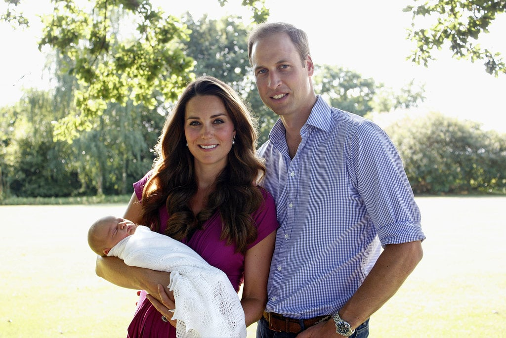 For their first official family portrait with Prince George, the Duke and Duchess of Cambridge were as handsome a couple as ever, Kate's chestnut hair styled in these flawless waves.