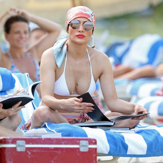 Jennifer Lopez White Bikini and Head Scarf in Miami May 2016
