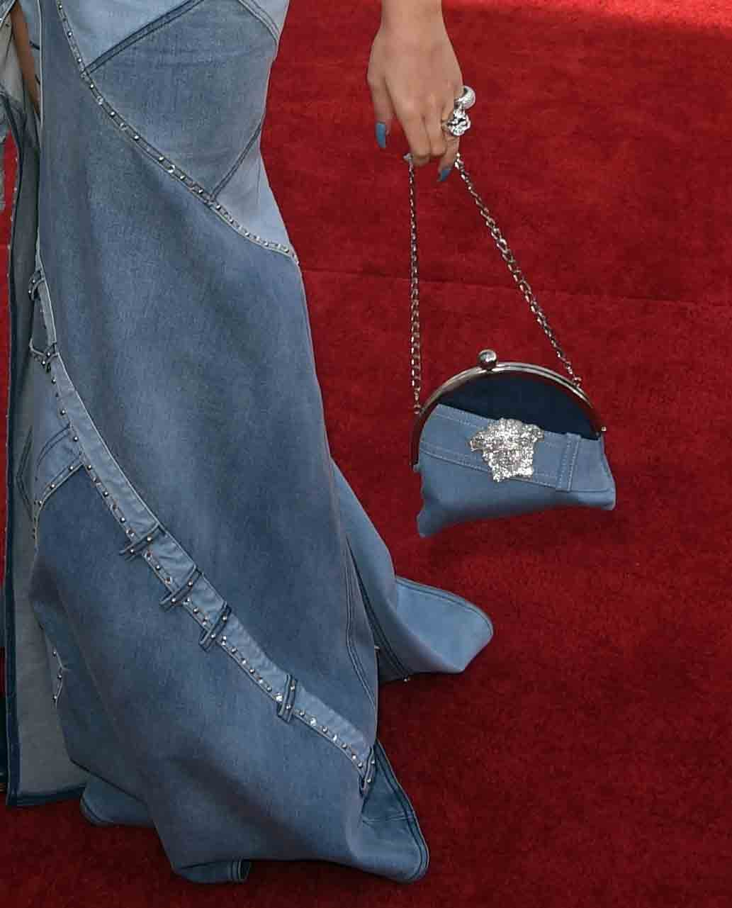 Katy Perry did a pretty great job at pulling off Britney Spears's all-denim ensemble, circa 2001, but one of our favorite touches has to be her chain-strap patchwork bag.
