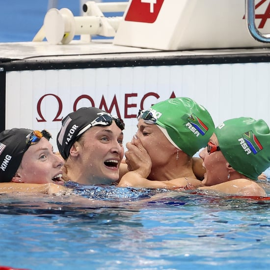 Olympic Swimmers Celebrate After Women's 200m Breaststroke