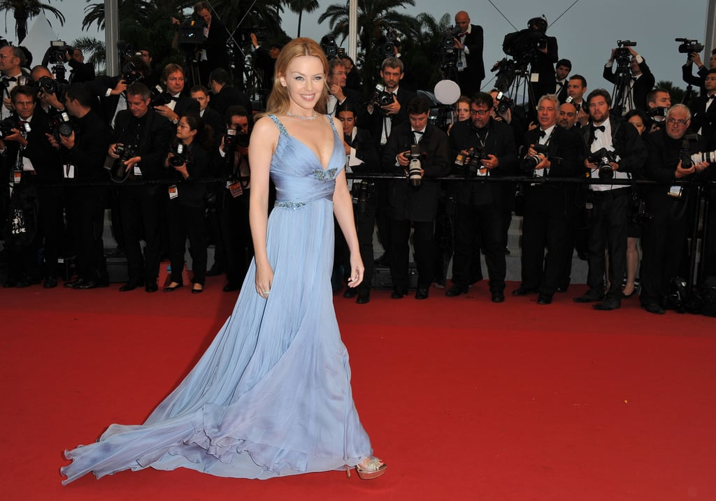 Kylie stepped out in a periwinkle-hued Roberto Cavalli creation for the Cannes closing ceremony.