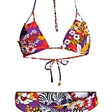 Mixing prints is a bohemian girl's specialty, and this suit pairs bold florals and animal prints perfectly. Indah Fantasy Zebra Bikini ($160)