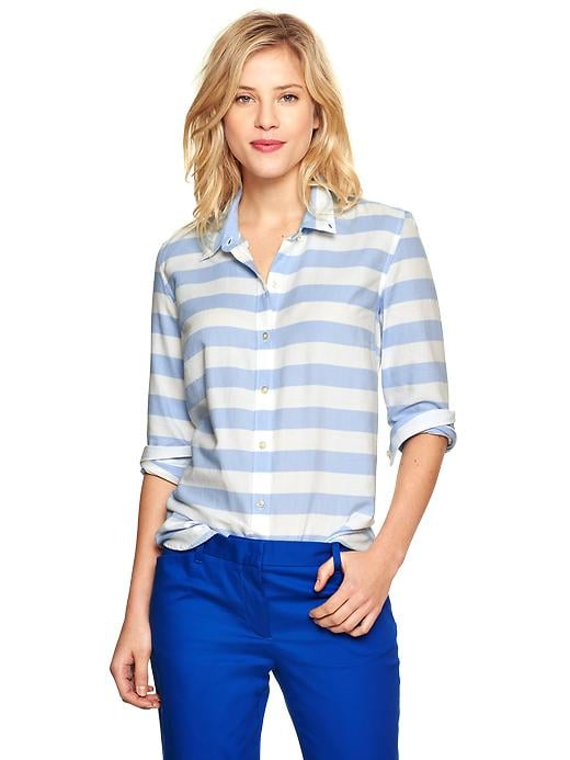 Gap Thick Blue-and-White Stripe Oxford Shirt