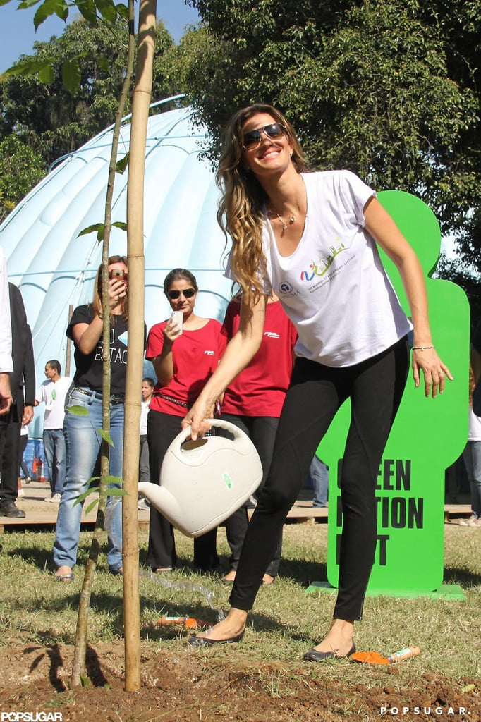 "Gisele Bundchen was spotted leaving the Copacabana Palace Hotel in Rio de Janeiro today. She was heading to an event for the Green Nation Fest at Quinta da Boa Vista public park. Gisele helped plant the first of thousands of new trees that will grow in a degraded region in Brazil and gave a speech, saying, ""any citizen can do their part."" Gisele's public appearances will continue tonight, when she'll participate in the ceremony for the UN environmental award, Champions of the Earth. Gisele brought her son, Benjamin, to her native country after spending the last few weeks in Boston with Tom Brady. Gisele, Tom, and Benjamin hit the park on Friday before Gisele took off for Brazil. The Brady-Bundchen family might be expanding soon, if rumors that Gisele is pregnant with her second child are true."