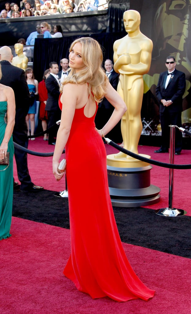 Jennifer Lawrence looked flawless in a casual red Calvin Klein dress in 2011.