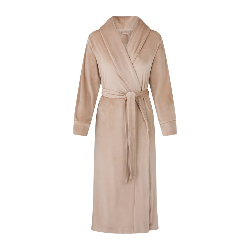 Kim Kardashian Skims Velour Long Robe in Honey