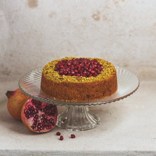 Pistachio & Carrot Cake with Pomegranate Syrup