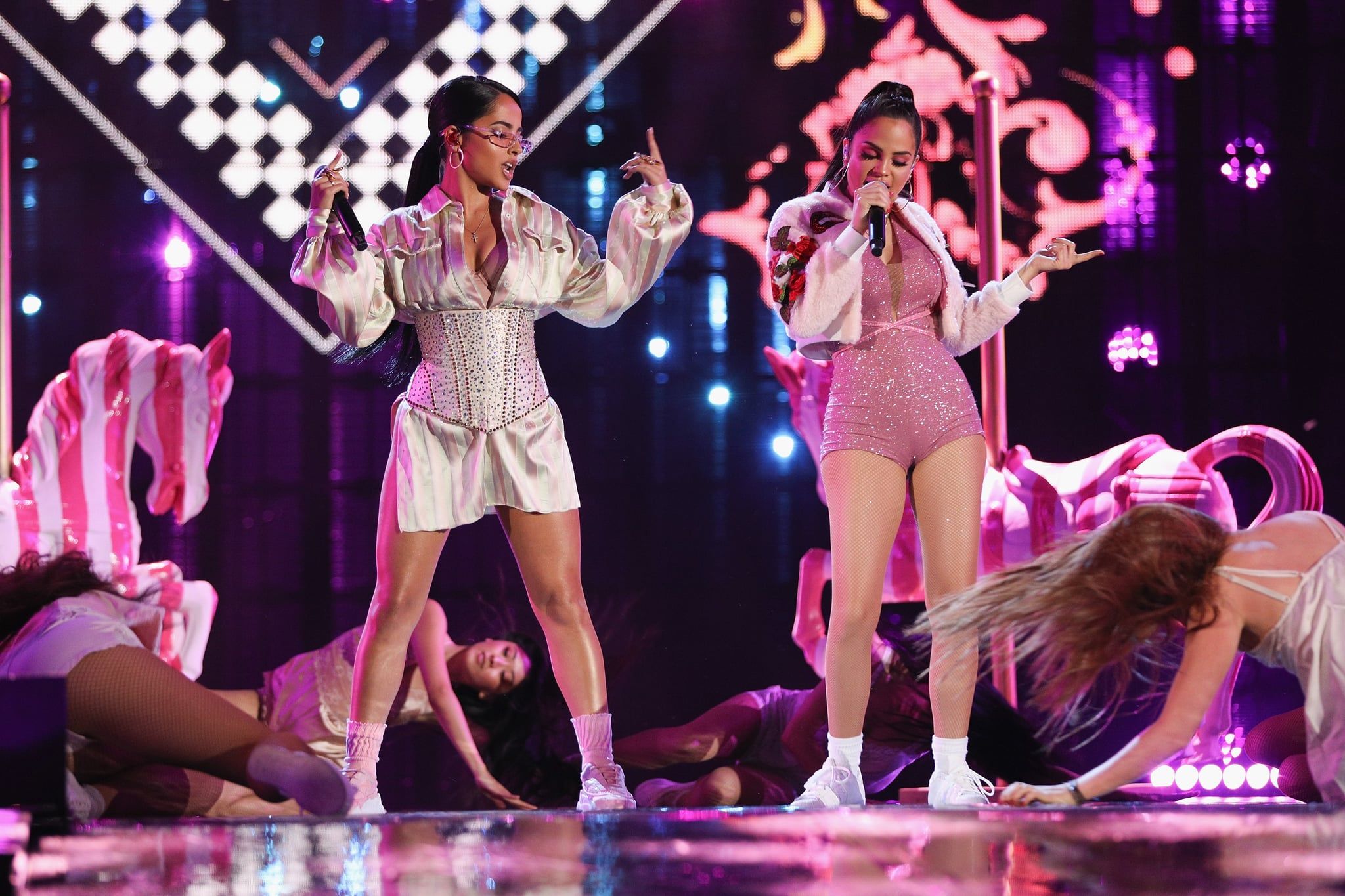 MEXICO CITY, MEXICO - JUNE 02:  Becky G and Natti Natasha perform on stage during the MIAW Awards 2018 at Arena Ciudad de Mexico on June 2, 2018 in Mexico City, Mexico  (Photo by Victor Chavez/Getty Images)