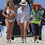 Kate Upton, Cameron Diaz, and Leslie Mann filmed a beach scene.