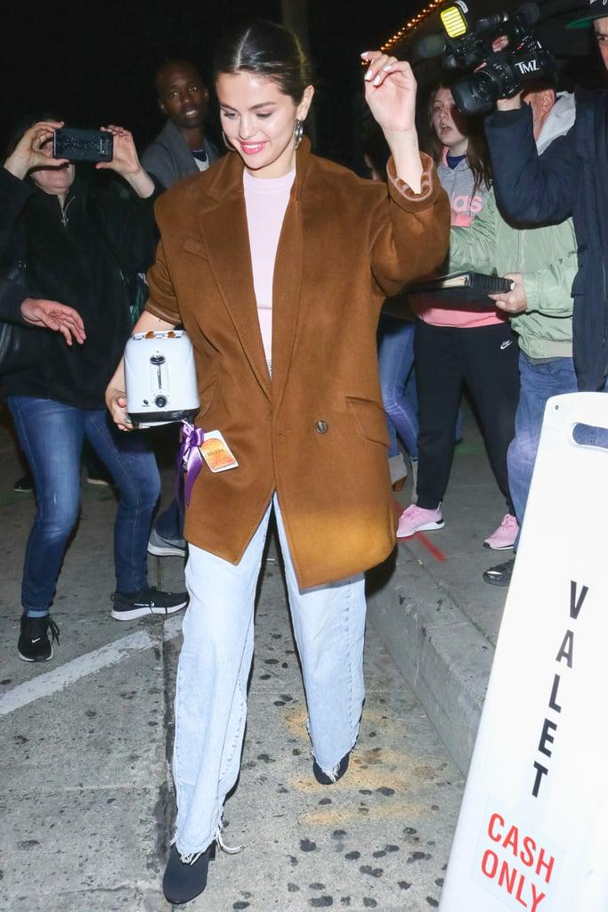 Selena Gomez Wears a Light Pink Turtleneck Twice in 1 Week