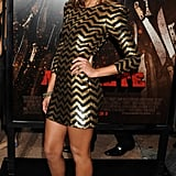 Jessica Alba exuded zigzag fabulousness in Balmain and Christian Louboutin caged booties at the Machete premiere.