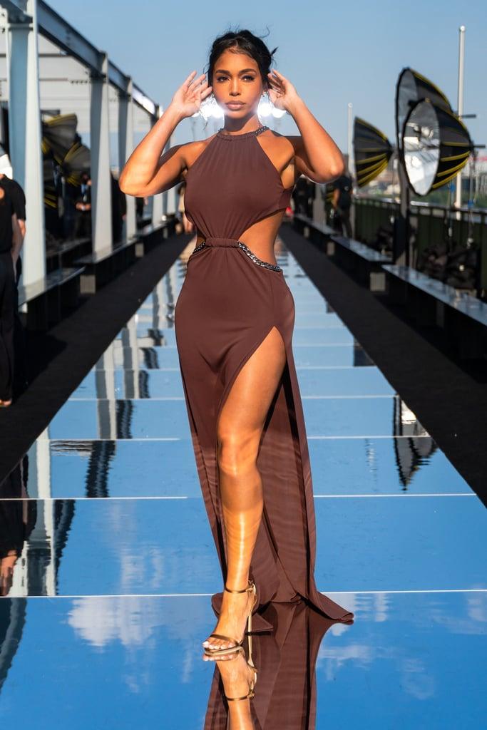 Lori Harvey Wears Brown Cutout Dress to NYFW Show