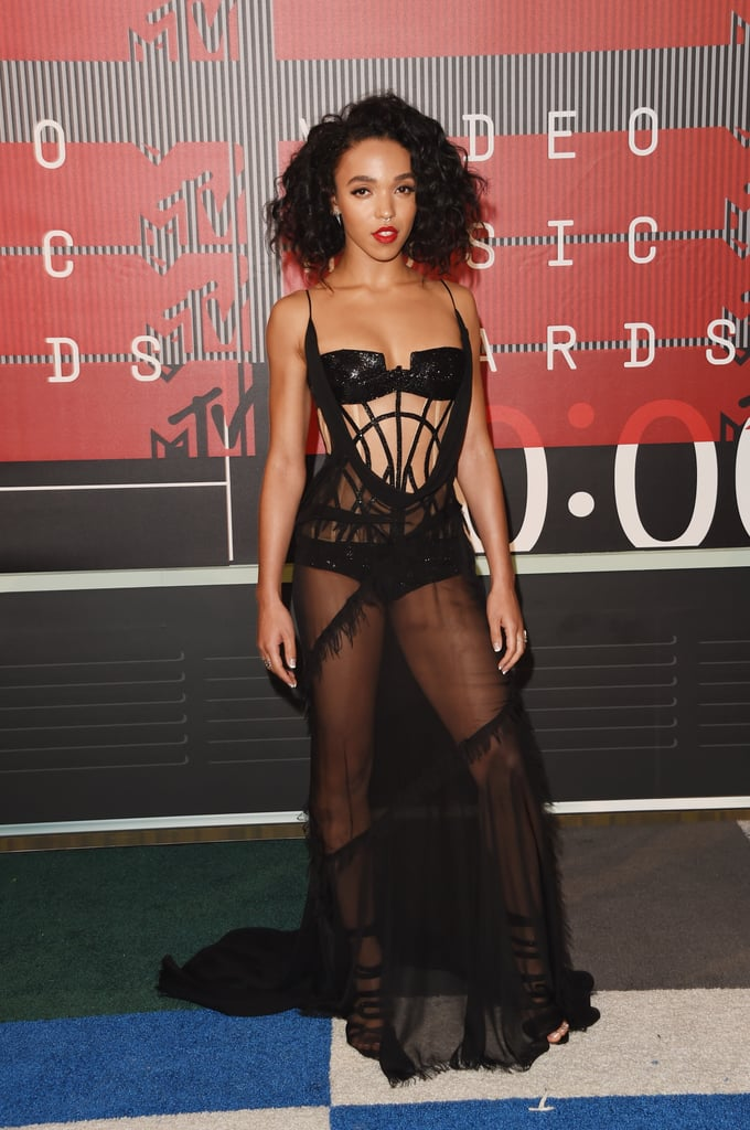 """FKA Twigs stepped out in style for the MTV VMAs in LA on Sunday, striking poses on the red carpet ahead of the big night. This year, she was nominated for the artist to watch award. FKA Twigs's solo VMAs appearance comes just a few months after she and her fiancé, Robert Pattinson, made their red carpet debut at the Met Gala in the Spring. She recently chatted about their relationship in an interview and the possibility of starting a family, saying, """"All of a sudden I started thinking that if I had a daughter, it is going to be terrifying."""" Keep reading for the best pictures of FKA Twigs at the VMAs, and then check out all the stars on the red carpet!"""