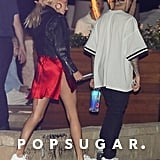Hailey Baldwin Red Dress and Leather Jacket With Justin 2019