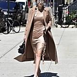 Gigi Hadid Nude Dress Street Style