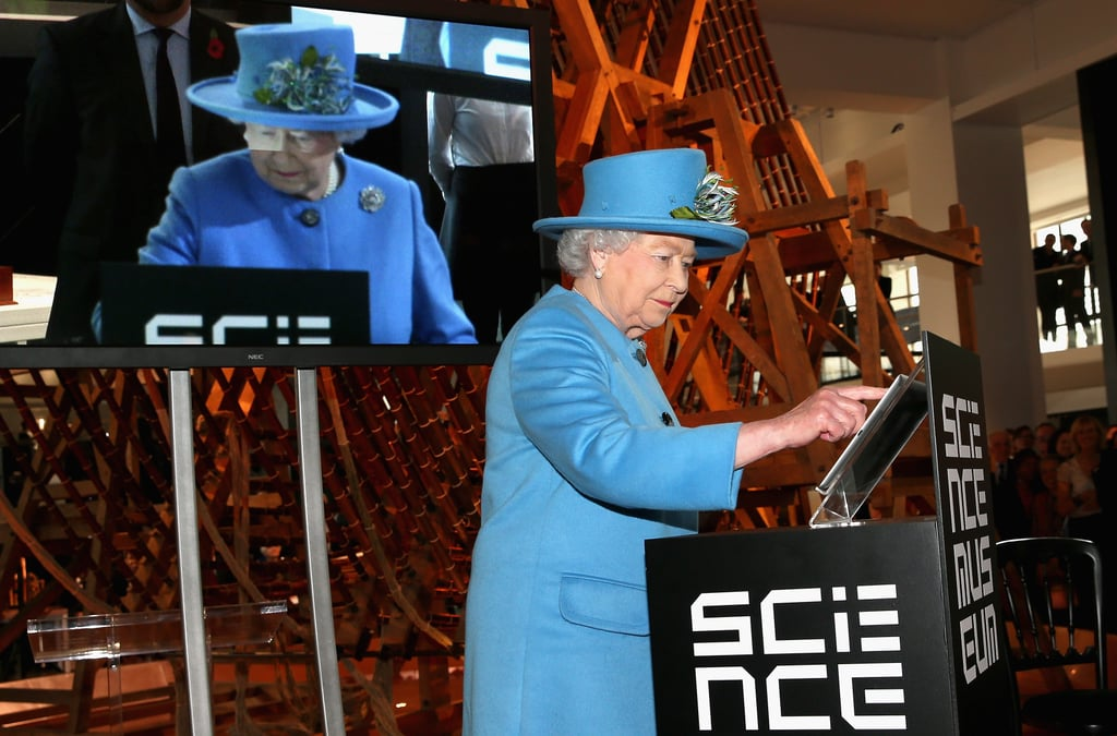 """Queen Elizabeth II has joined the social media revolution. The monarch sent out her first official tweet on Friday from the royal family's official Twitter account, @BritishMonarchy. Naturally, this wasn't just a whim on the queen's part as she did it while opening a new exhibition on the Information Age at the Science Museum. The queen wrote, """"It is a pleasure to open the Information Age exhibition today at the @ScienceMuseum and I hope people will enjoy visiting.  Elizabeth R."""" It is a pleasure to open the Information Age exhibition today at the @ScienceMuseum and I hope people will enjoy visiting.  Elizabeth R.— The Royal Family (@RoyalFamily) October 24, 2014    The tweet was confirmed to be the real deal when the British Monarchy handle began sharing photos of the queen tapping away on an iPad. However, as some keen observers noted, while Elizabeth was seen writing on an iPad, her tweet apparently showed up as coming from an iPhone.  Rumbled! @arob_87: if the queen sent a tweet how come the photo is of an iPad yet the tweet was sent from iPhone? http://t.co/Pe2POFXNZR— Gizmodo UK (@GizmodoUK) October 24, 2014    Either way, the queen's tweet is hardly the royal family's first foray into social media over the past few months. Her tweet officially trumps Prince Harry, who previously held the title of the highest-ranking royal to tweet when he launched the Invictus Games in May. The queen's son, Prince Andrew, already has his own official Twitter account and became the first royal to take a selfie back in April. He was followed in July by Harry and Prince William, who took selfies in Buckingham Palace while promoting the queen's Young Leaders Awards. And who could forget the rash of royal photobombs that the queen started over the Summer? Now all we need is for the Duchess of Cambridge to join us in the social media age. Aside from Prince Andrew, the royal family does not have their own personal social media accounts, but they do have official presences on Faceboo"""