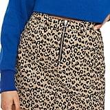 Topshop Half-Zip Leopard-Print Denim Skirt