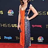 Mandy made us do a double take when she showed up to the This Is Us season two premiere in this multicolored Rosie Assoulin dress.