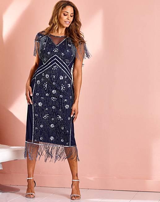 Joanna Hope Fringe Beaded Flapper Dress
