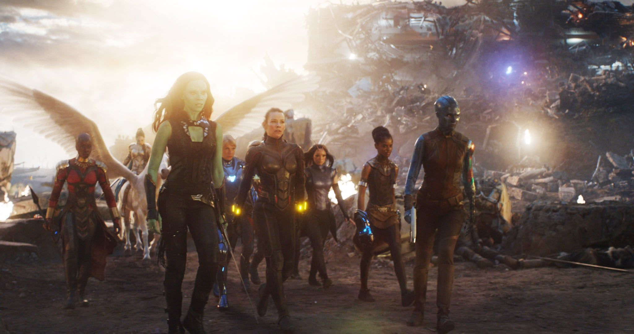 AVENGERS: ENDGAME, (aka AVENGERS 4), from left: Danai Gurira as Okoye, Zoe Saldana as Gamora, Gwyneth Paltrow as Pepper Potts, Evangeline Lilly as The Wasp, Pom Klementief as Mantis, Letitia Wright as Shuri, Karen Gillan as Nebula, 2019.  Walt Disney Studios Motion Pictures /  Marvel Studios / courtesy Everett Collection