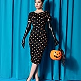 Black and Orange Pumpkin Patch Short Sleeve Mod Wiggle Dress