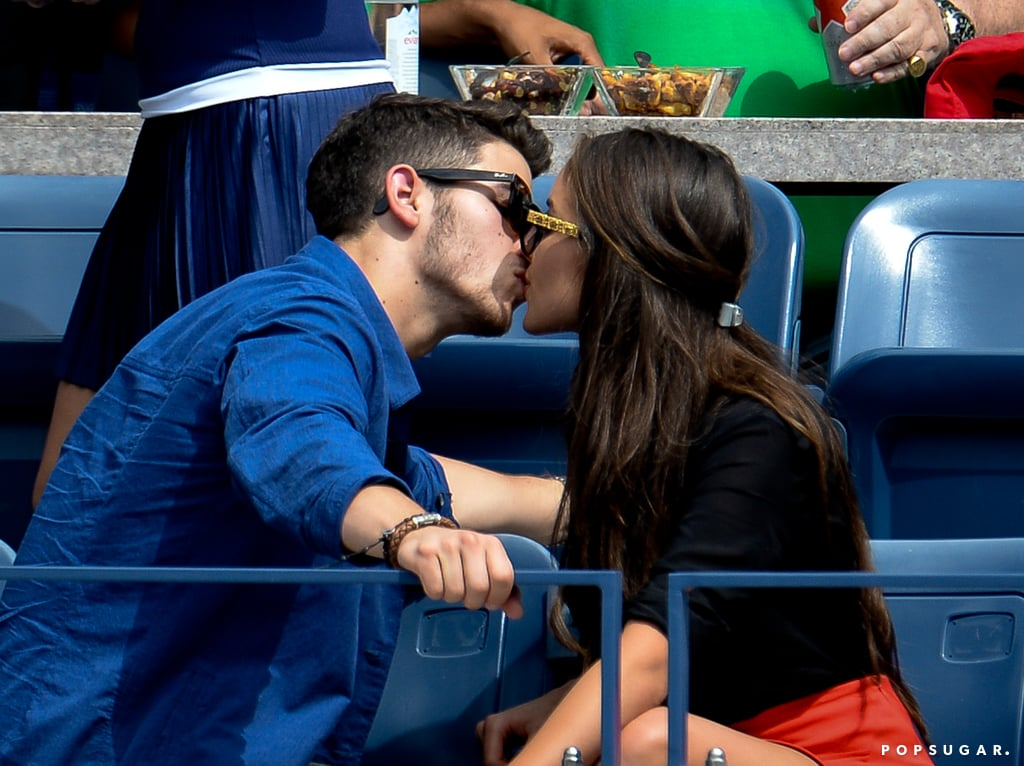 Nick Jonas gave his girlfriend a kiss in the stands.