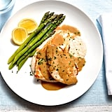 Chicken With Creamy Marsala Sauce, White Bean Puree, and Asparagus