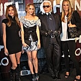 Karl poses with some of his most stylish guests including Molly Sims.