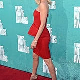 Charlize Theron arrived on the carpet in a stunning red dress.