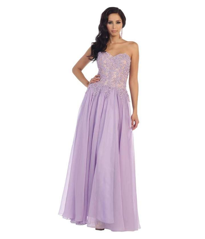 Lilac Purple Strapless Sweetheart Lace Long Dress ($207)