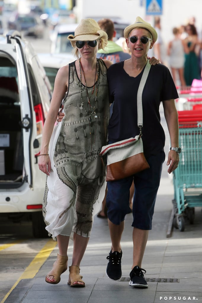 Are Ellen DeGeneres and Portia de Rossi the cutest couple ever? The couple, who have been an item since 2004, were the picture of love during their Christmas vacation in St. Barts on Thursday. They looked relaxed while walking hand in hand outside, both flashing big smiles. On Friday, they were spotted out yet again, radiating love and showing sweet PDA, only this time with a group of friends. We caught a glimpse of the pair's envy-inducing chemistry when they were seen grocery shopping in West Hollywood, CA, earlier this month. Scroll through for more of the duo's Christmas vacation, and then relive their love story in pictures.