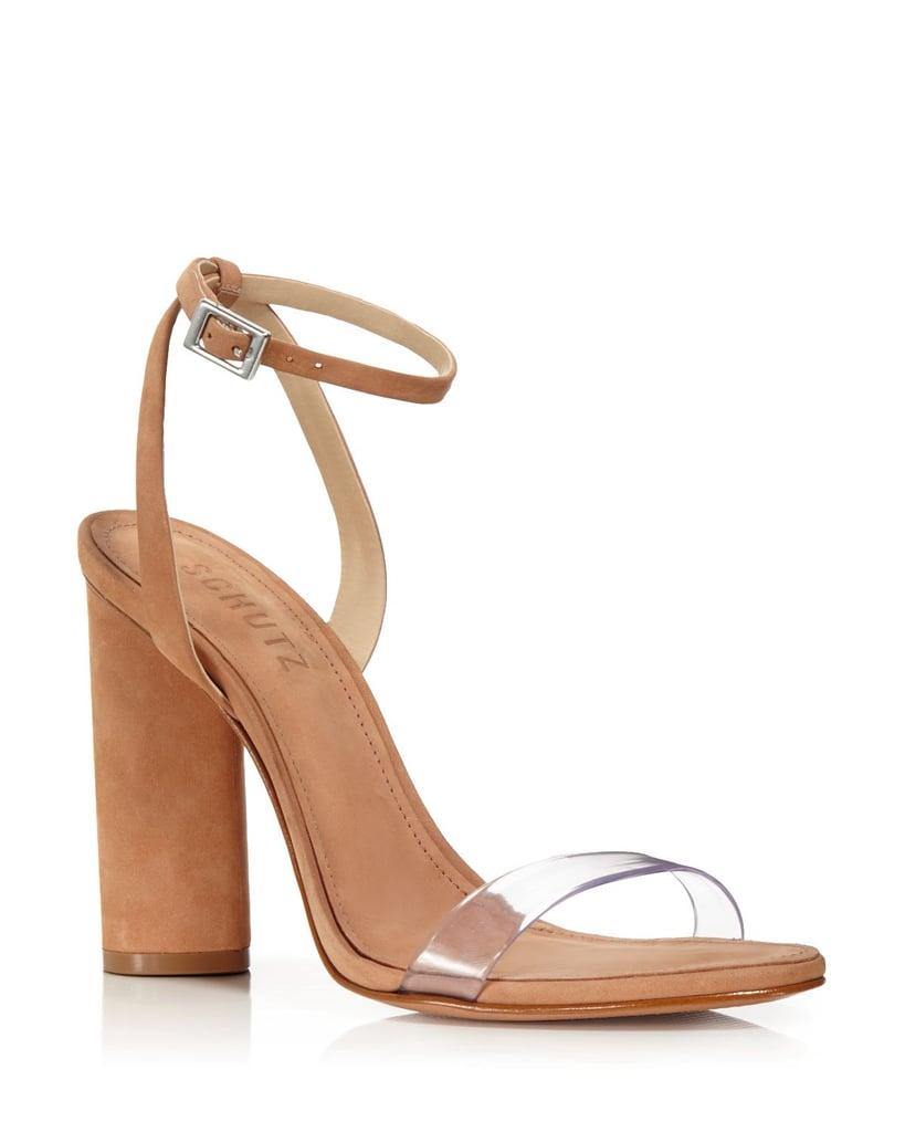 Schutz Geisy Suede Illusion Ankle Strap Block Heel Sandals