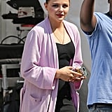 Chloë Moretz was in heavy makeup the set of The Equalizer on Wednesday in Chelsea, MA.