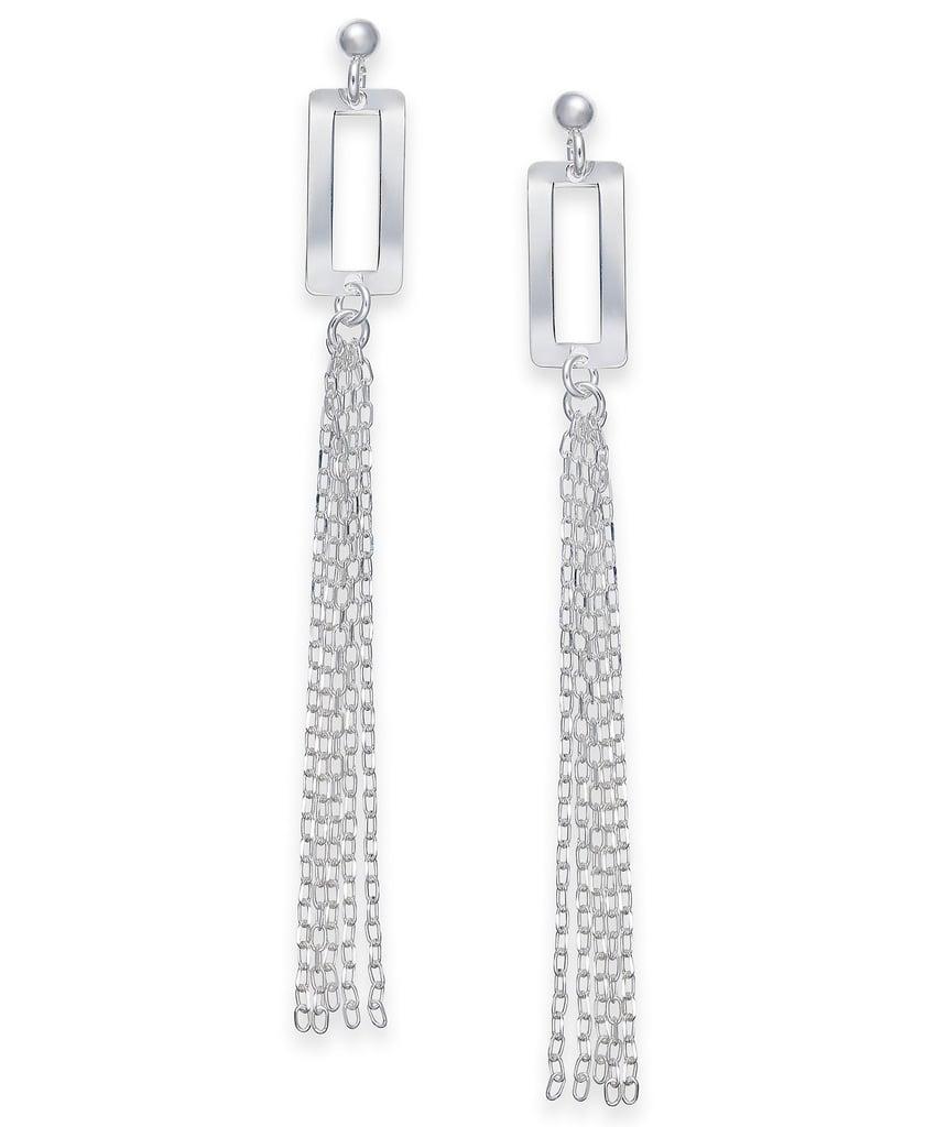 Giani Bernini Rectangle Fringe Drop Earrings in Sterling Silver