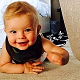 """Josh Duhamel snapped a shot of his little crawler on Father's Day, writing, """"Proud to be this kid's dad. Happy Father's Day to all the dads out there."""" Source: Instagram user joshduhamel"""