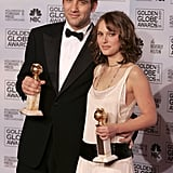 Natalie Portman and Clive Owen posed with their trophies at the 2005 awards.