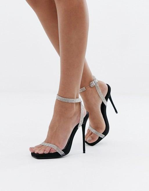 Simmi London Jenny Black Embellished Heeled Sandals