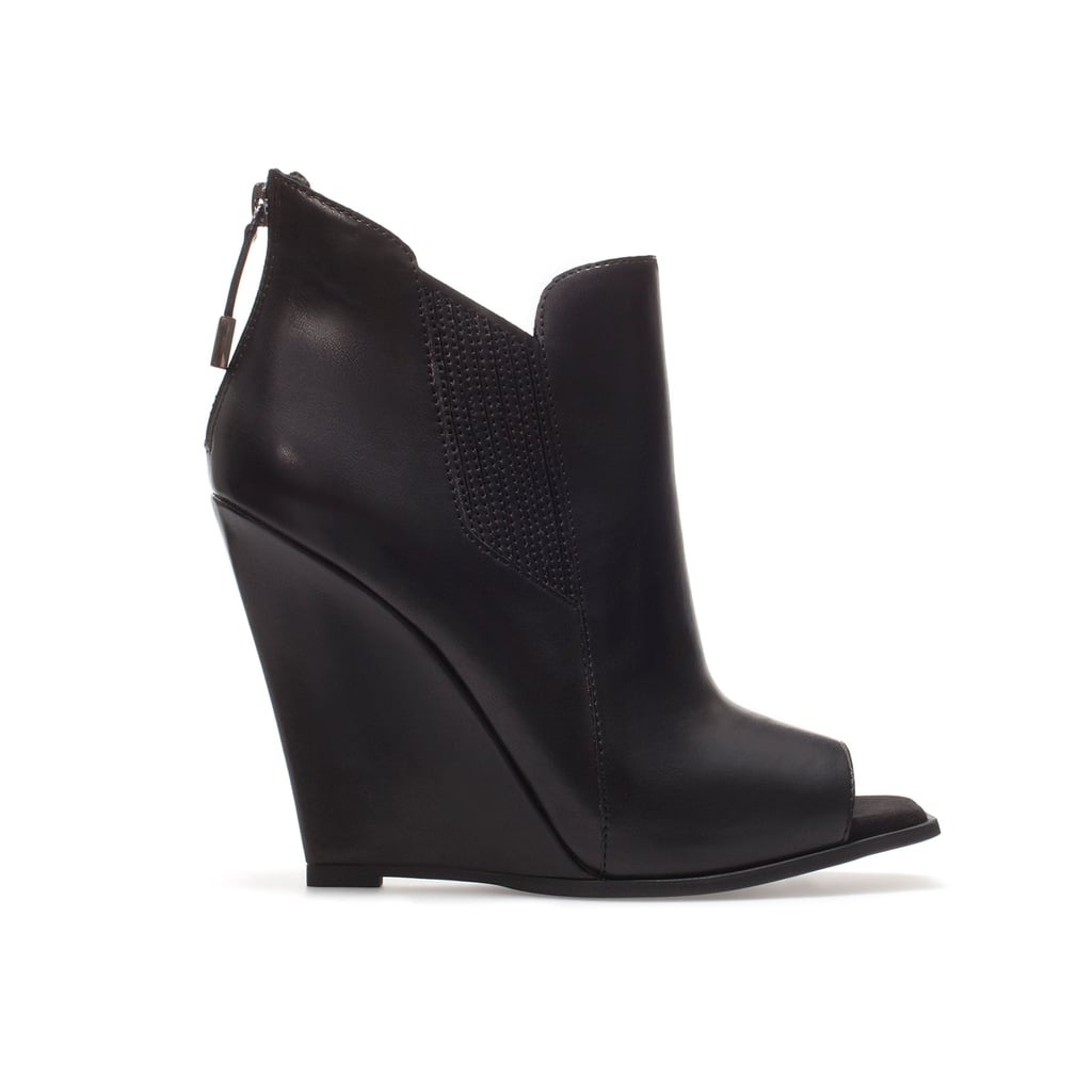 b93628d3be Swap out your Winter black boots for these Zara peep-toe wedge ankle boots (