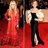 Twinning combo: At the 2011 Met Gala, the pint-size trend-setters opted for gowns with Spanish influence.   Mary-Kate revved up the red carpet in a red-and-green vintage Givenchy Couture selection with a coordinating Judith Leiber clutch.   Ashley stunned in a dramatically sleeved vintage Christian Dior number, complete with thigh-high slit.