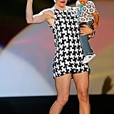 Gwen Stefani carried Kingston down the runway after showing her February 2007 L.A.M.B. collection.