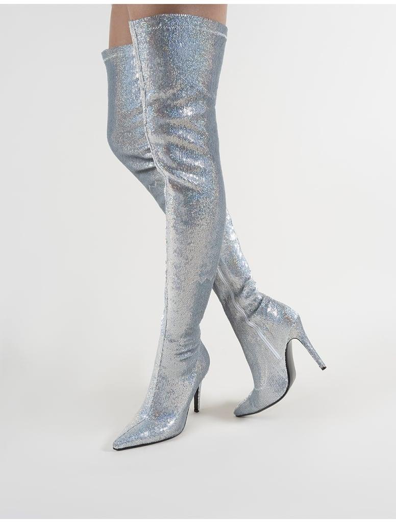 2645e92ce Public Desire Dazzle Pointed Toe Over the Knee Boots   Michelle ...