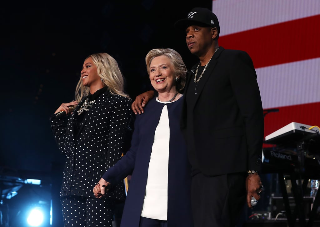 """Just a week after wowing us with their Barbie and Ken Halloween costumes, Jay Z and Beyoncé hit the stage together at a campaign concert for Hillary Clinton at Cleveland State University in Ohio on Friday night. After a duet of """"Holy Grail"""" and a performance of """"Formation"""" from Beyoncé, the couple was joined by the presidential nominee and held hands with her amid cheers from the audience. The event, which aimed to gain voter support from millennials and African Americans in Cuyahoga County, also brought out J. Cole, Big Sean, and Chance the Rapper.  Beyoncé appropriately wore a pantsuit for the occasion, as did her backup dancers. The singer also gave a heartwarming speech about daughter Blue Ivy to the crowd, saying, """"I want my daughter to grow up seeing a women lead our country and knowing that her possibilities are limitless. And that's why I am with her."""" Jay slammed Republican nominee Donald Trump while addressing the audience and introducing Hillary to the stage. """"This other guy, I don't have any ill will . . . [but] he cannot be my president,"""" the rapper said. """"Once you divide us, you weaken us, we are stronger together."""""""