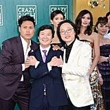 Pictured: Jon M. Chu, Ken Jeong, Jimmy O Yang, Sonoya Mizuno, Gemma Chan, Michelle Yeoh, and Henry Golding