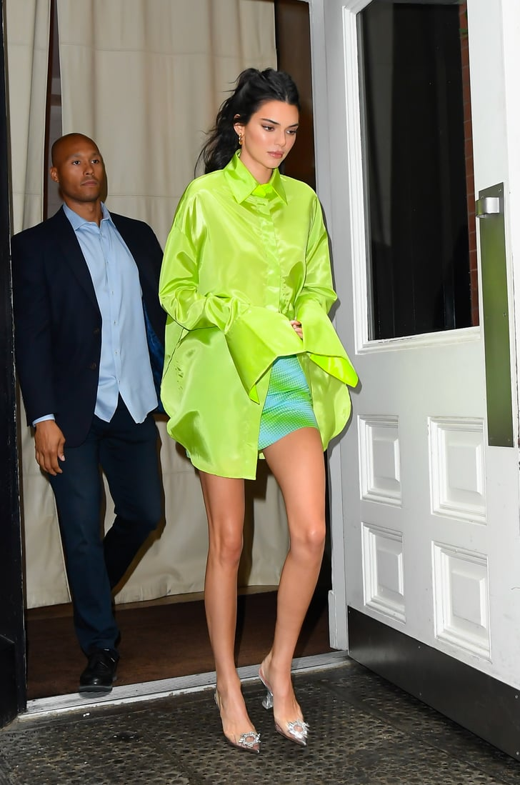Kendall Jenner Clear Heels With Neon Shirt Popsugar