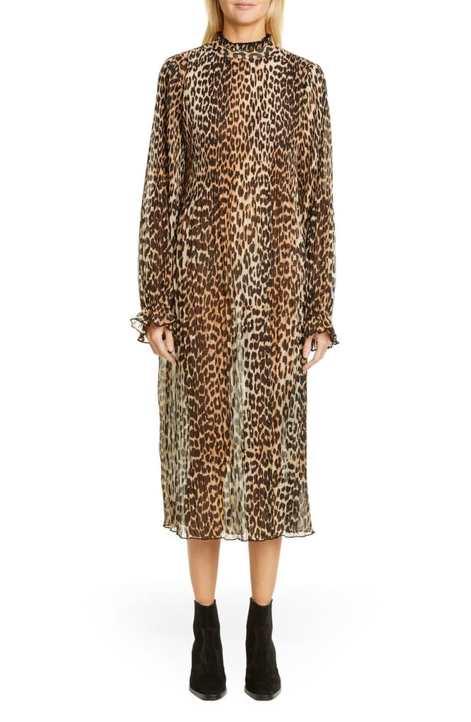 Ganni Leopard-Print Sheer Georgette Long-Sleeve Midi Dress