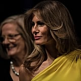 Melania Trump Wore a Yellow Christian Dior Dress to Meet With Australian Prime Minister Malcolm Turnbull