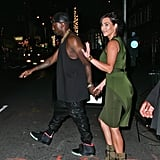 Kanye West and Kim Kardashian held hands leaving a Broadway show.