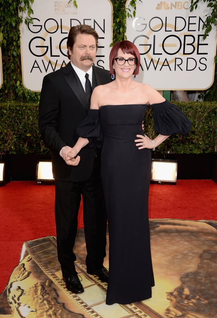 Nick offerman and megan mullally posed for pictures at the golden nick offerman and megan mullally posed for pictures at the golden globes sciox Gallery